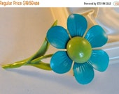 REserved for Alise Vintage Enamel Flower Brooch Teal and Green - Amazing