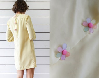 Vintage pale yellow minimalist long sleeve tunic cocktail mini dress XS-S