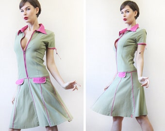 Vintage PUSSY DELUXE olive green pink flared skirt drop waist fitted body midi dress L
