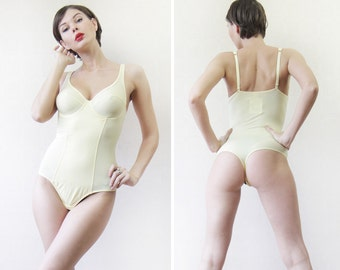 Deadstock vintage light yellow stretchy underwired cup bra thong one piece leotard bodysuit