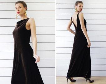 90s Vintage brown velvet low V cut back sleeveless long evening column maxi dress S M