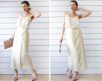 Vintage ivory white beige linen viscose semi sheer high waist wrap maxi skirt S