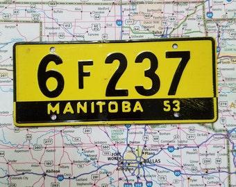 Vintage 1953 Tin Mini License Plate Manitoba Canada