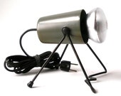 Vintage Atomic First Lamp Co MCM Metal Bug Shaped Adj Wall Mount or Surface Accent Spot Uplight LAMP Grey Enamel Finish Mid Century Modern
