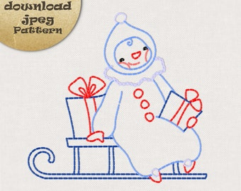 Christmas embroidery patterns, hand embroidery patterns, Snowman embroidery, instant download jpeg