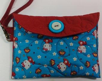 Hello Kitty wristlet, girls swing purse, button closure