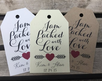 Wedding Gift Tags - Jam Packed With Love - Wedding Favor Tags - Customizable Personalized (WT1678)