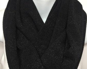 Black on sparkle black striped sweater knit infinity scarf
