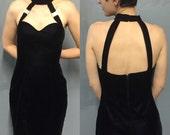Little Black Velvet Halter Neck Cocktail Dress Size 6 Size 8