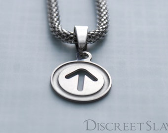 Stainless steel Male slave pendant. For slaves, submissives and owned persons in a BDSM relationship. Limited Stainless steel collection