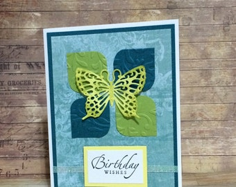 Birthday card, Handmade card, greeting card, Embossed, Butterfly