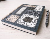 Eco friendly recycled A5 notebook journal sketchbook Bohemian Soul black and white