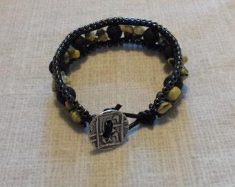 Lava rock and gemstone chip leather wrap bracelet