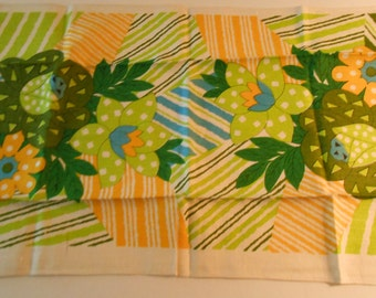 vintage linen dish towel bright 60's floral new without tags