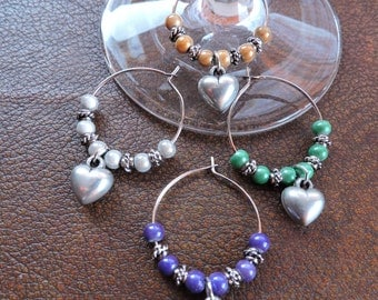 Set of 4 Wine Charms, Wine Charms, Stemware Charms, Hearts, Wine Charms with Different Colored Beads on Silver Hoops