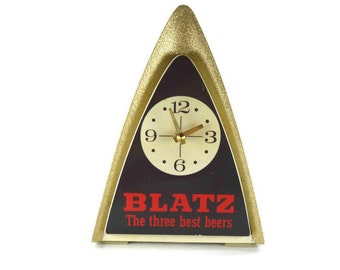 Vintage Blatz Bar Clock Lighted Beer Sign