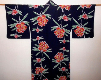 SUMMER SALE 15%off!! - Vintage yukata - Red flower / Dark navy