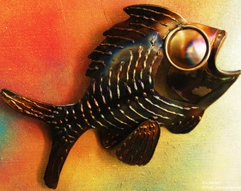 Xavier the Fish, Hand Made Metal Wall Piece, 11""