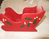 Vintage painted wooden sled, holiday, Christmas decoration