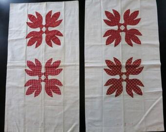Antique Pennsylvania patchwork pillowcase pair, c. 1850, turkey red applique, initials