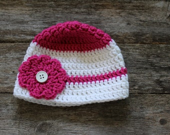 Baby Beanie with Flower and Button Center in Dark Pink and White, 6-12 Months