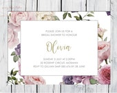 Botanical Vintage Floral, Baby Bridal shower, Gender Announcement, Girls Birthday, Contemporary