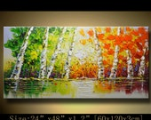 contemporary wall art, Palette Knife Painting,colorful tree painting,wall decor , Home Decor,Acrylic Textured Painting ON Canvas by Chen w40