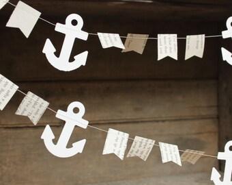 Anchor Garland, Anchor Bunting, Anchor Party Decoration, Pirate Party Decoration, Beach Party Decoration, Book Page Garland, 10 feet long