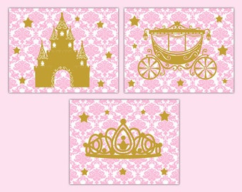 PINK GOLD NURSERY Print Wall Art Princess Damask Baby Girl Room Decor Childrens Kids Castle Tiara Crown Carriage Coach Bedroom Shower Gift