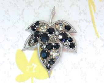 Vintage Black Smokey Rhinestone Silver Leaf Brooch Pin