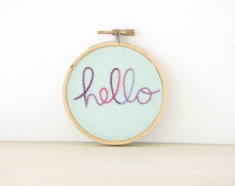 Hello Embroidery Hoop Wall Art in pink & purple ombre, hand lettering, hand embroidered word art, friend gift, dorm decor, kids room