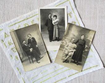 3 antique french photo and postcard depicting men, France, Paris, 1920, Old paper, Ephemera, Photographie, Photo