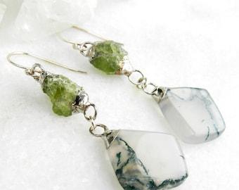 SALE Peridot earrings, Silver earrings, Raw peridot, Moss agate, Electroformed, Dangle earrings, Organic jewelry