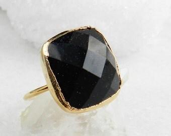 blue goldstone ring, goldstone ring, blue goldstone, gold ring, skinny band ring, electroformed, galaxy, boho, midnight blue