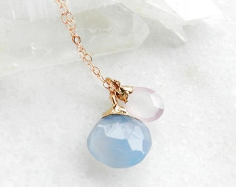 chalcedony necklace, pantone, serenity blue, rose quartz, rose gold, rose gold necklace, layering necklace, rose quartz necklace