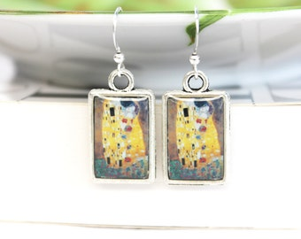 Art resin earrings double sided with Klimt The kiss