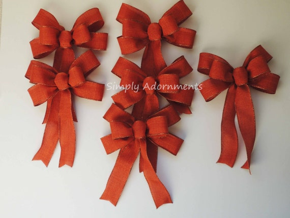 6 Mini Fall Burn orange Bow Fall Ornament Bows Fall Gift Bows Swag Bows Mini Wreath Swag Bow Fall Autumn Lantern Bow for Decoration