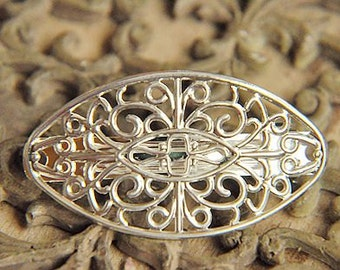 5pcs raw Brass  plating silver  flower Filigree hair comb  pin  finding