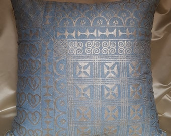 "22"" x 22"" Fortuny Throw Pillow Cushion Cover  Slate Blue & Silvery Gold Ashanti Pattern 01 - Made in Italy"