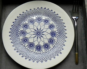Rustic Ceramic Plate Indigo Lace Dessert Plate Unique Serving Plate Wedding Decor