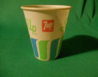 Two (2),  Different, Waxed Paper, 7-UP Soda Sampling, Waxed Paper, Cups, from the Sweet Heart Cup Corp.
