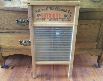 Antique Washboard, National Washboard Co, Rustic, Vintage, Wood, Glass, Farmhouse Decor, Home Decor, Primitives, Wall Decor, Laundry Board
