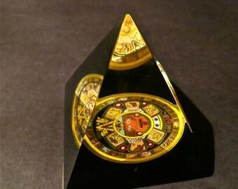 Vintage Pyramid Display of Aztec Calendar