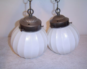 Ceiling Swag Double Globe Lights, Vintage - Needs Wiring