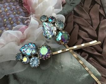Decorative Hair Pins Jewelry 1940's Blue Iridescent Aurora Borealis Art Glass Leaves Hairpins Bobby Pins
