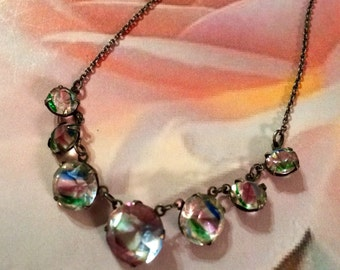 Rainbow Iris Necklace 1920 Crystal Bridal Jewelry Art Deco Sterling
