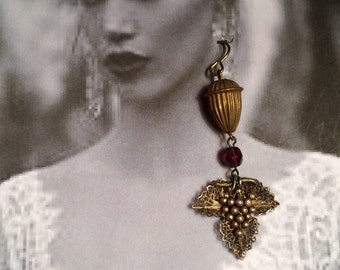 Grape Acorn Earrings Victorian Edwardian Silver Filigree Amethyst Bridal Vineyard