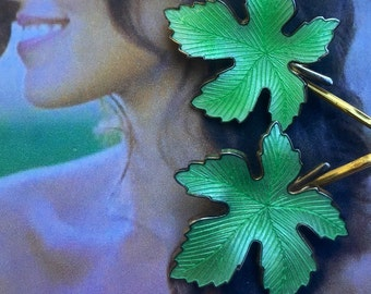 Woodland Wedding Green Guilloche Enamel Leaves Leaf Decorative Hair Bobby Pins