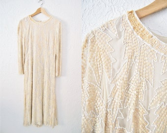 Vintage 1980s White Cream Sequin Dress Gown Trophy Party Long Glitter / Womens Clothing / Hollywood / Wedding Dress