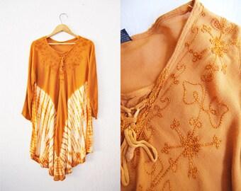 Vintage 90s Mustard Yellow Tye Dye Rayon Hippie Dress Mini Boho Bohemain Festival